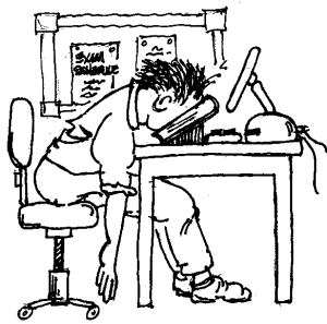 Cartoon of student studying for final exams